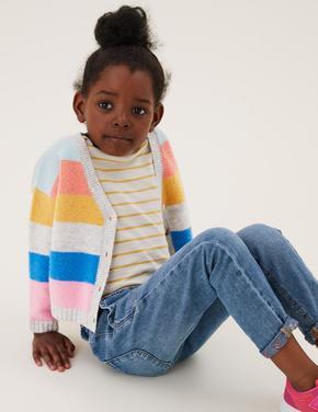 Kız Çocuk Multi Renk Çizgili V Yaka Hırka (2-7 Yaş)