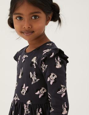 Kız Çocuk Gri Saf Pamuklu Minnie Mouse™ Elbise (2-7 Yaş)