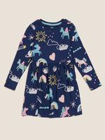 Kız Çocuk Lacivert Saf Pamuklu Unicorn Desenli Elbise (2-7 Yaş)