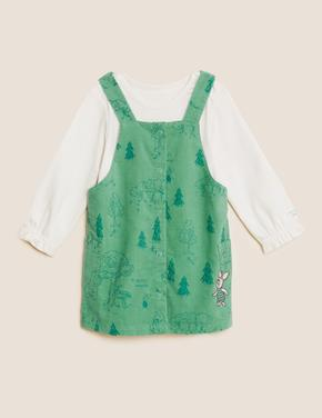 Bebek Yeşil Saf Pamuklu Winnie the Pooh™ Elbise Takımı (0-3 Yaş)