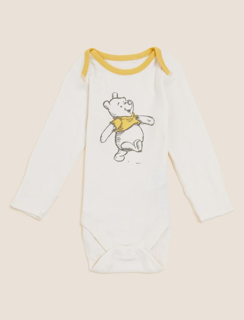 Bebek Krem Saf Pamuklu 3'lü Winnie the Pooh™ Bodysuit (0-3 Yaş)