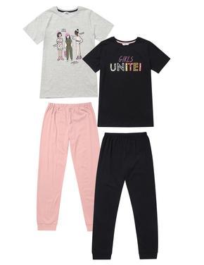 Çocuk Multi Renk 2'li Grafik Desenli Kısa Kollu Pijama Takımı