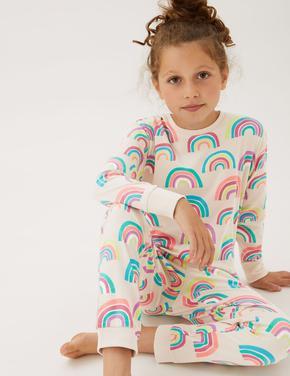 Çocuk Multi Renk 2'li Gökkuşağı Desenli Pijama Takımı