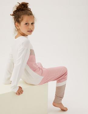 Çocuk Pembe Flexifit™ Uzun Kollu Pijama Takımı