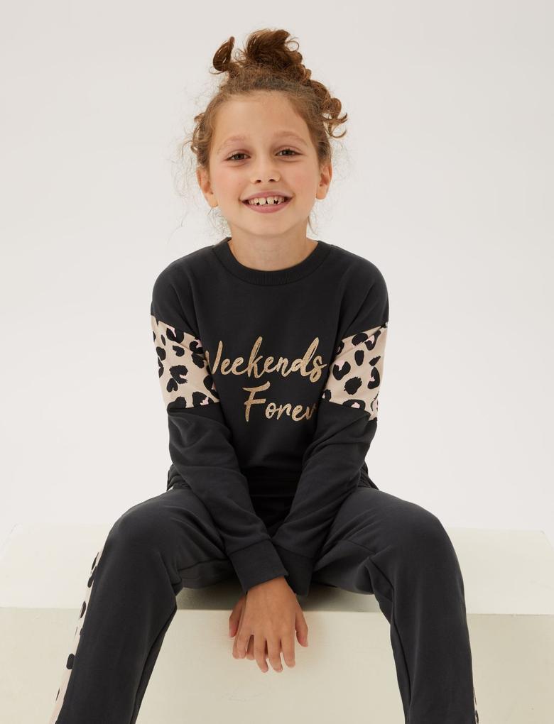 Çocuk Gri Leopar Desenli Pijama Takımı