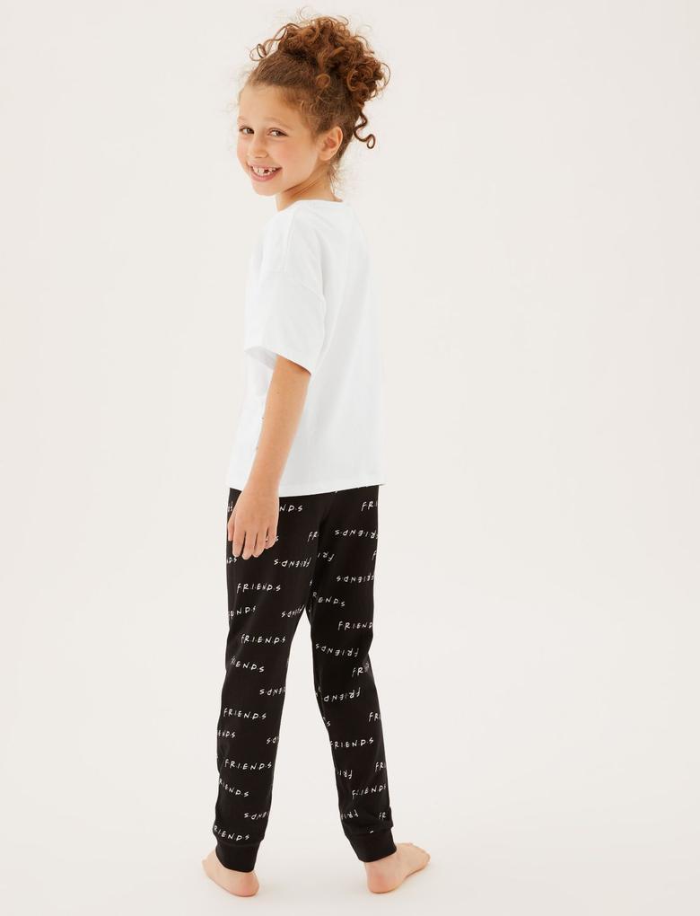 Çocuk Siyah Saf Pamuklu Friends™ Pijama Takımı (8-16 Yaş)