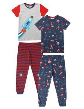 Çocuk Multi Renk 2'li Roket Desenli Kısa Kollu Pijama Takımı