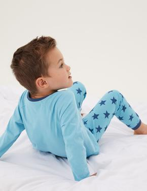 Çocuk Multi Renk Saf Pamuklu 2'li Uzay Desenli Pijama Takımı (1-7 Yaş)