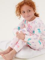 Çocuk Multi Renk Saf Pamuklu 2'li Unicorn Desenli Pijama Takımı (1-7 Yaş)