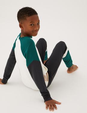 Çocuk Krem Renk Bloklu Uzun Kollu Pijama Takımı (6-16 Yaş)