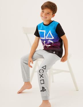 Çocuk Multi Renk Saf Pamuklu PlayStation™ Pijama Takımı (6-16 Yaş)