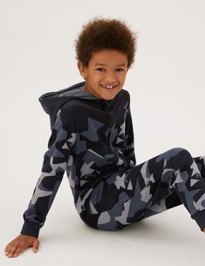 Çocuk Multi Renk Kamuflaj Desenli Kapüşonlu Tulum (6-16 Yaş)