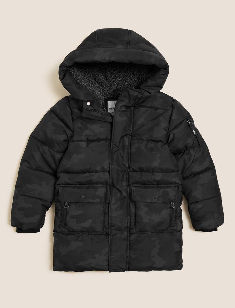 Erkek Çocuk Siyah Stormwear™ Kapüşonlu Puffer Şişme Mont (6-16 Yaş)