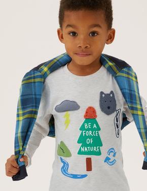 Erkek Çocuk Krem Dokulu Grafik Desenli T-Shirt (2-7 Yaş)