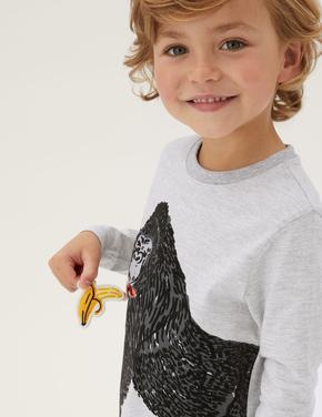 Erkek Çocuk Gri Grafik Desenli Uzun Kollu T-Shirt (2-7 Yaş)