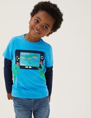 Erkek Çocuk Mavi Saf Pamuklu Oyun Desenli Uzun Kollu T-Shirt (2-7 Yaş)