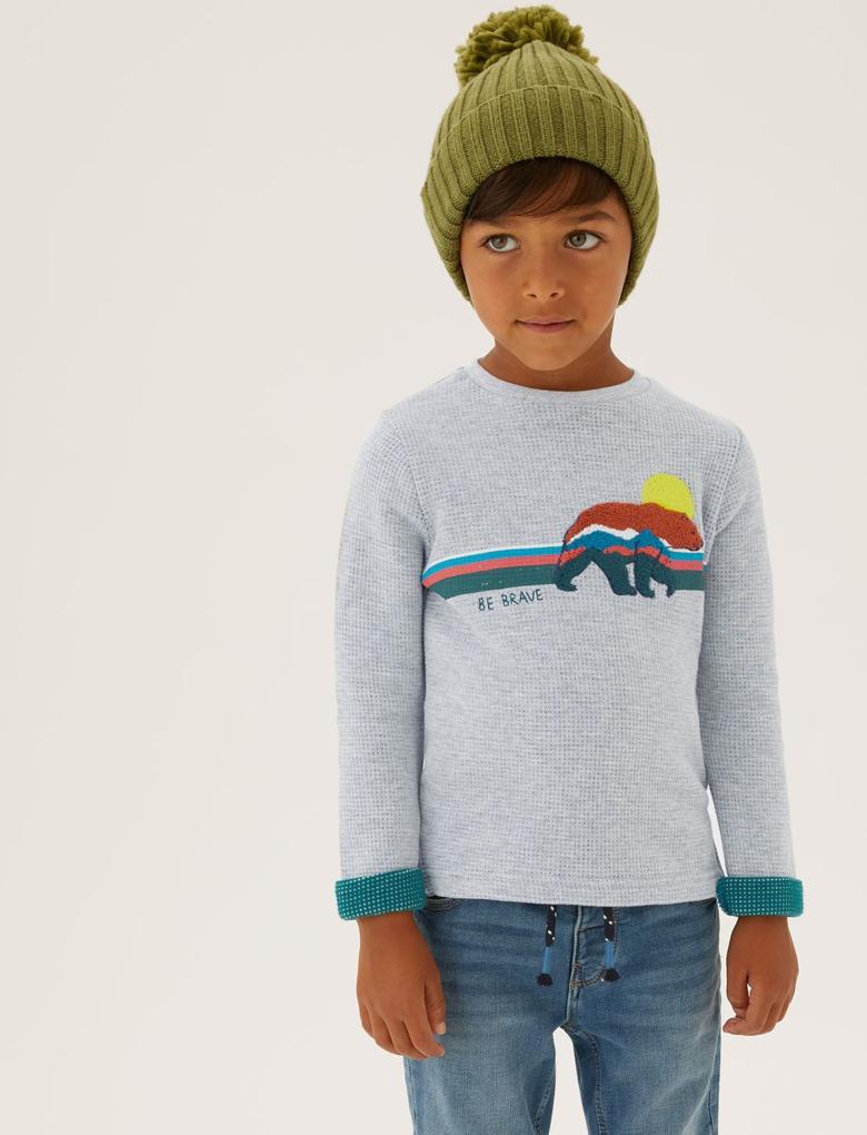 Erkek Çocuk Gri Ayı Desenli Uzun Kollu Waffle T-Shirt (2-7 Yaş)