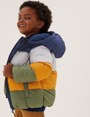 Erkek Çocuk Sarı Stormwear™ Kapüşonlu Puffer Şişme Mont