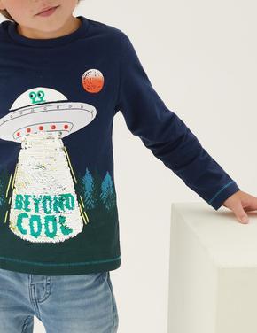 Erkek Çocuk Lacivert Saf Pamuklu Çift Yönlü Pullu T-Shirt (2-7 Yaş)