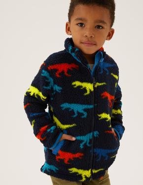 Erkek Çocuk Lacivert Dinozor Desenli Fermuarlı Polar (2-7 Yaş)