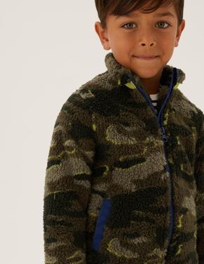 Erkek Çocuk Yeşil Kamuflaj Desenli Fermuarlı Polar (2-7 Yaş)