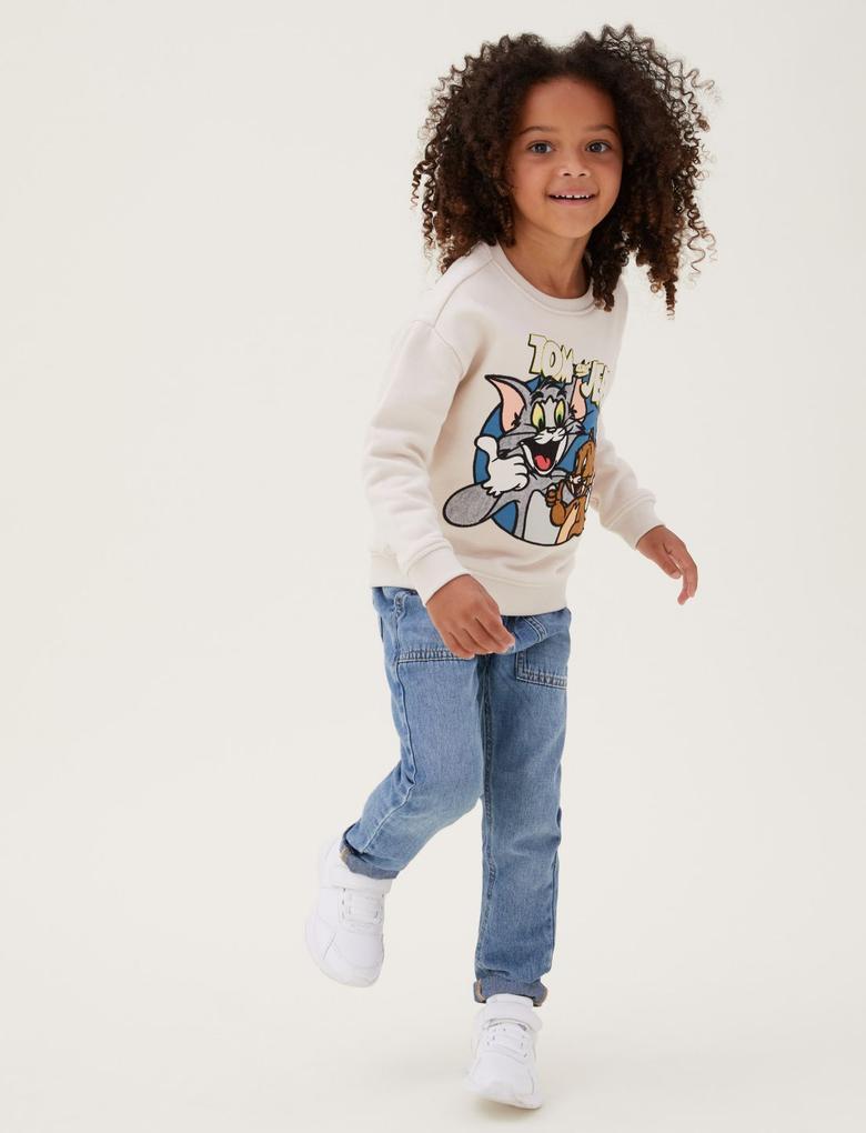 Erkek Çocuk Bej Tom and Jerry™ Sweatshirt (2-7 Yaş)