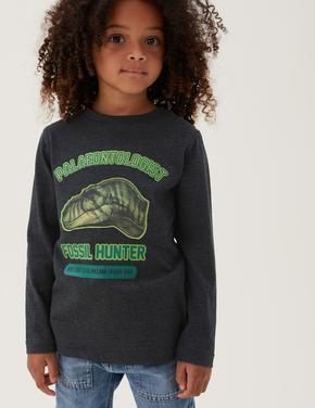 Erkek Çocuk Gri NHM™ Dinozor Desenli T-Shirt (2-12 Yaş)