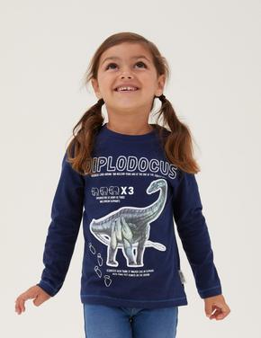 Erkek Çocuk Lacivert Saf Pamuklu NHM™ Dinozor Desenli T-Shirt (2-12 Yaş)