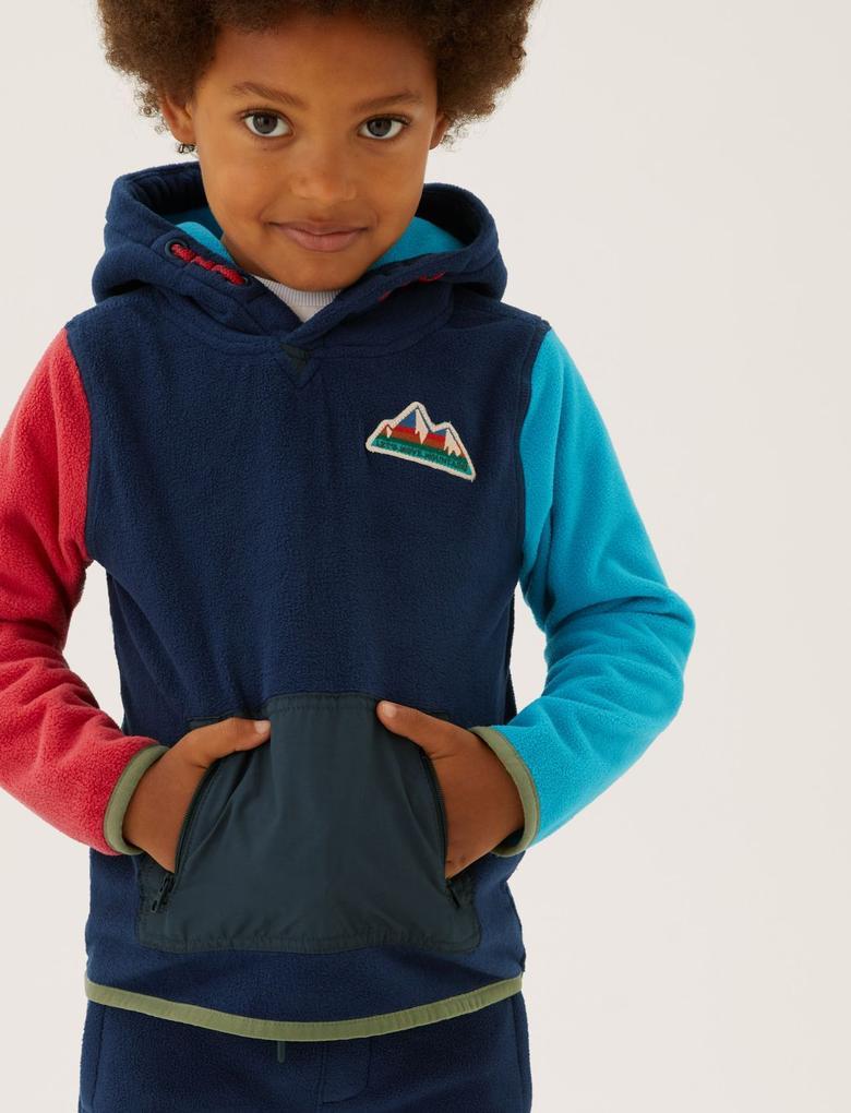 Erkek Çocuk Lacivert Renk Bloklu Kapüşonlu Polar Sweatshirt (2-7 Yaş)