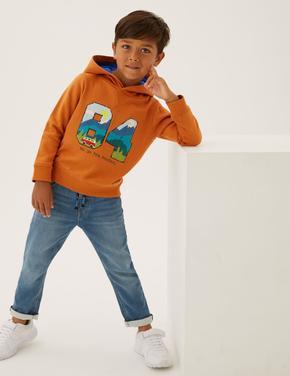 Erkek Çocuk Kahverengi Dokulu Grafik Desenli Kapüşonlu Sweatshirt (2-7 yaş)