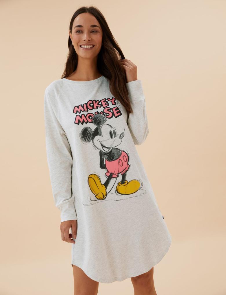 Kadın Bej Disney Mickey™ Temalı Gecelik