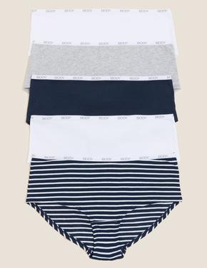 Kadın Lacivert 5'li Body Logolu Cotton Lycra® Short Külot Seti