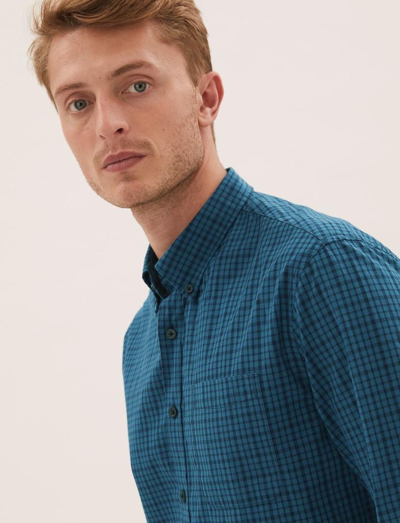 Erkek Yeşil Saf Pamuklu Kareli Gömlek