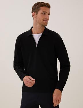 Erkek Siyah Saf Pamuklu Uzun Kollu Polo Yaka T-Shirt