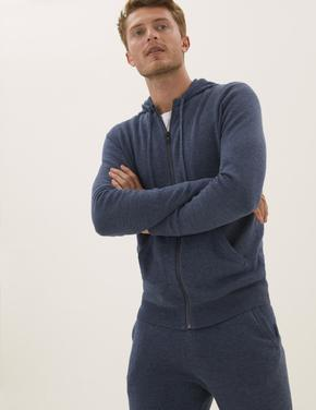 Erkek Lacivert Saf Pamuklu Kapüşonlu Örgü Sweatshirt