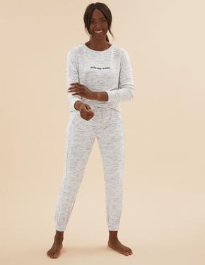 Kadın Gri Cosy Örme Pijama Altı