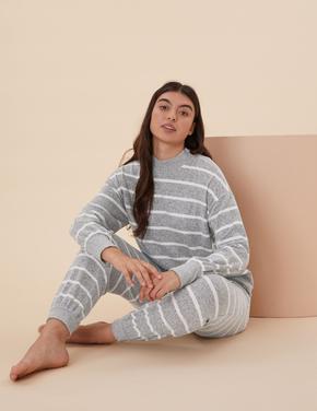 Kadın Gri Çizgili Cosy Pijama Altı