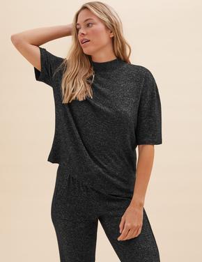 Kadın Siyah Cosy Kısa Kollu Pijama Üst