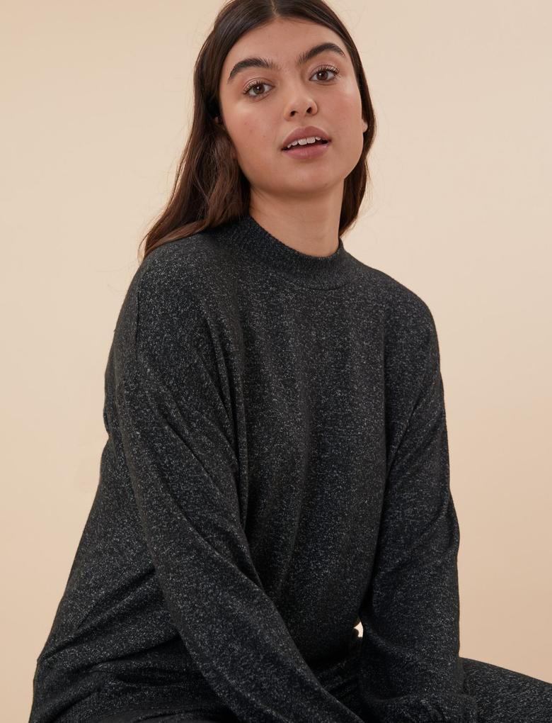 Kadın Siyah Cosy Uzun Kollu Pijama Üst