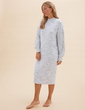 Kadın Gri Cosy Örme Uzun Elbise