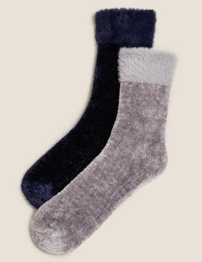 Kadın Gri 2'li Kadife Çorap Seti