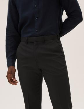 Erkek Siyah Yün Karışımlı Regular Fit Pantolon