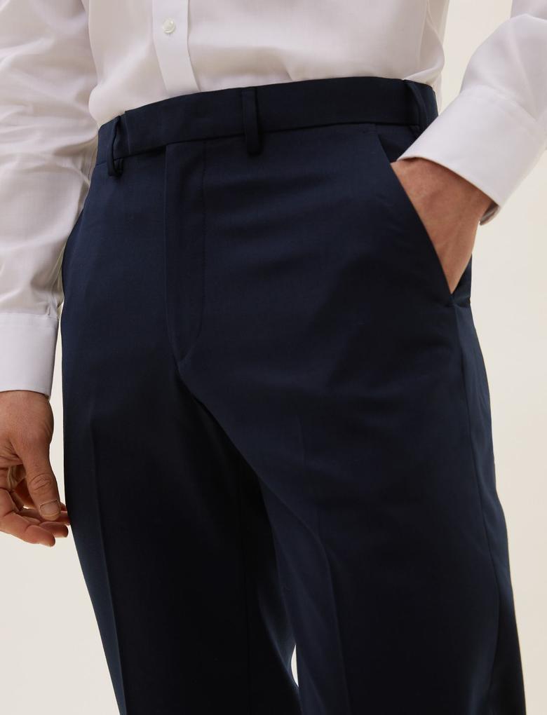 Erkek Lacivert Yün Karışımlı Regular Fit Pantolon