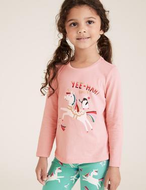Kız Çocuk Pembe Saf Pamuklu Unicorn Desenli T-Shirt (2-7 Yaş)