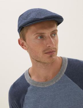 Erkek Mavi Thermowarmth™ Yünlü Dokulu Şapka