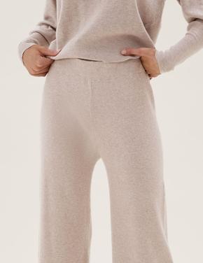 Kadın Bej Wide Leg Triko Pantolon