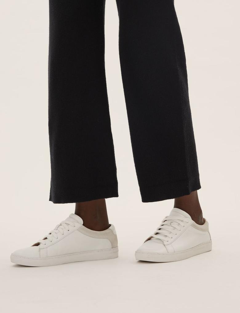 Kadın Siyah Wide Leg Triko Pantolon