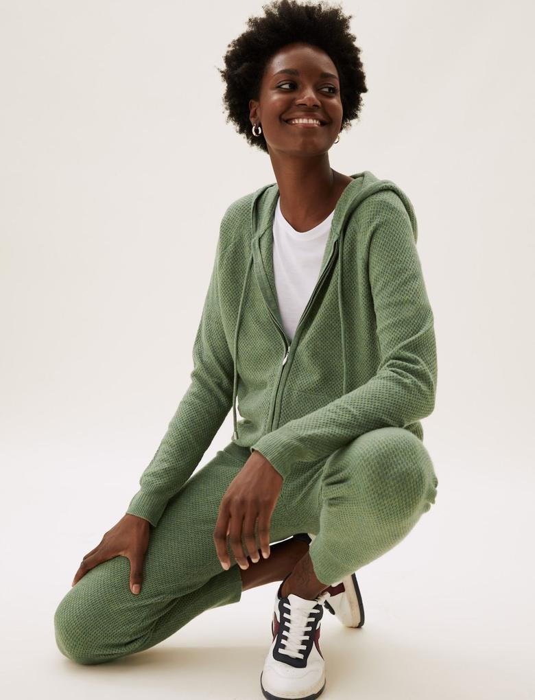 Kadın Yeşil Yumuşak Dokulu Fermuarlı Sweatshirt