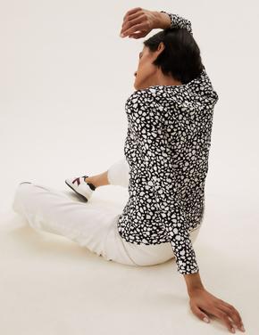 Kadın Siyah Saf Pamuklu Uzun Kollu T-Shirt