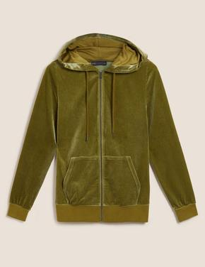Kadın Yeşil Kapüşonlu Fermuarlı Sweatshirt
